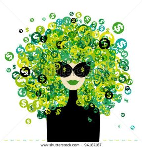 stock-vector-woman-portrait-with-dollar-signs-hairstyle-for-your-design-94187167